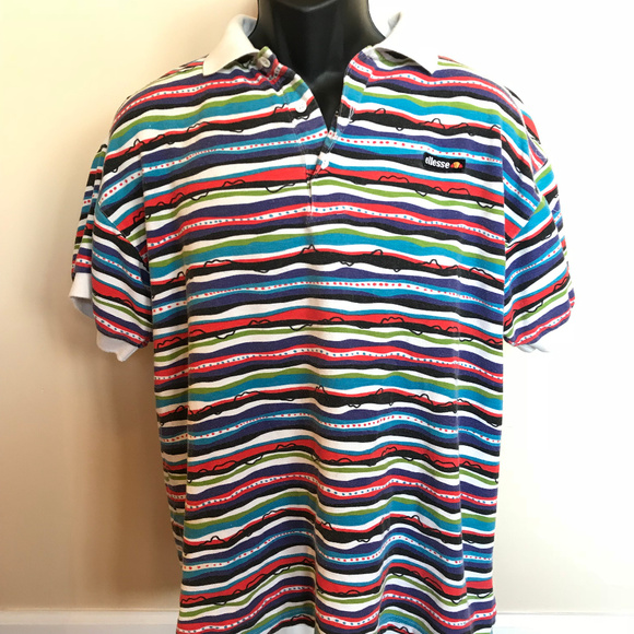 Vintage Other - 90s Ellesse Stripe Polo Shirt Colorful Rugby Surf